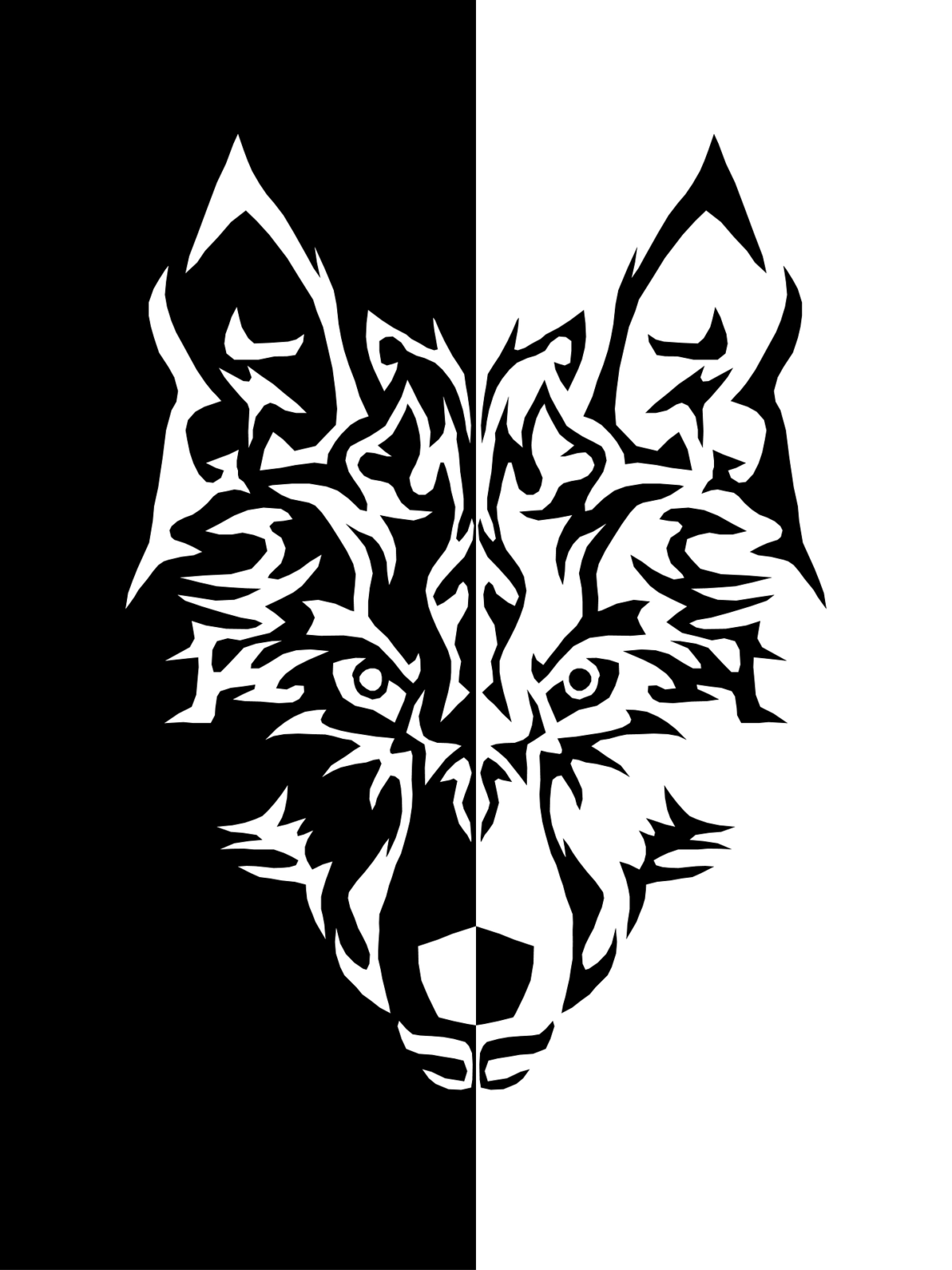 Grafik eines Wolfskopfes - die linke Hälfte weiß auf schwarzem Grund, die rechte Hälfte schwarz auf weißem Hintergrund