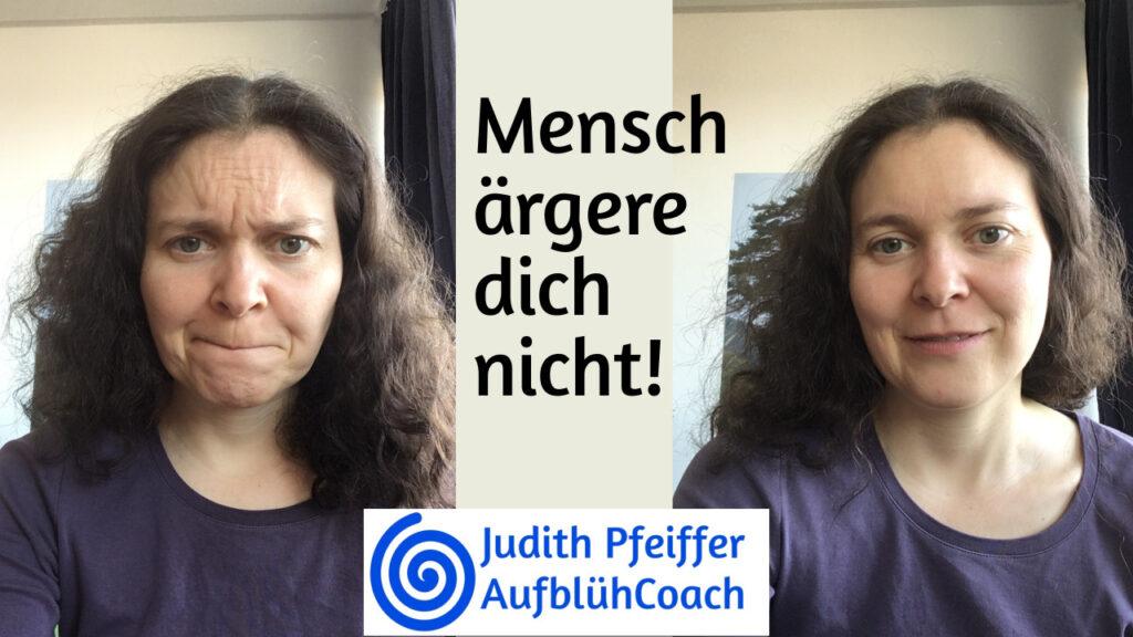 Links: Judith mit (zugegeben gespieltem) verärgertem Gesichtsausdruck. Rechts: Judith mit entspanntem und zufriedenen Gesichtsausdruck