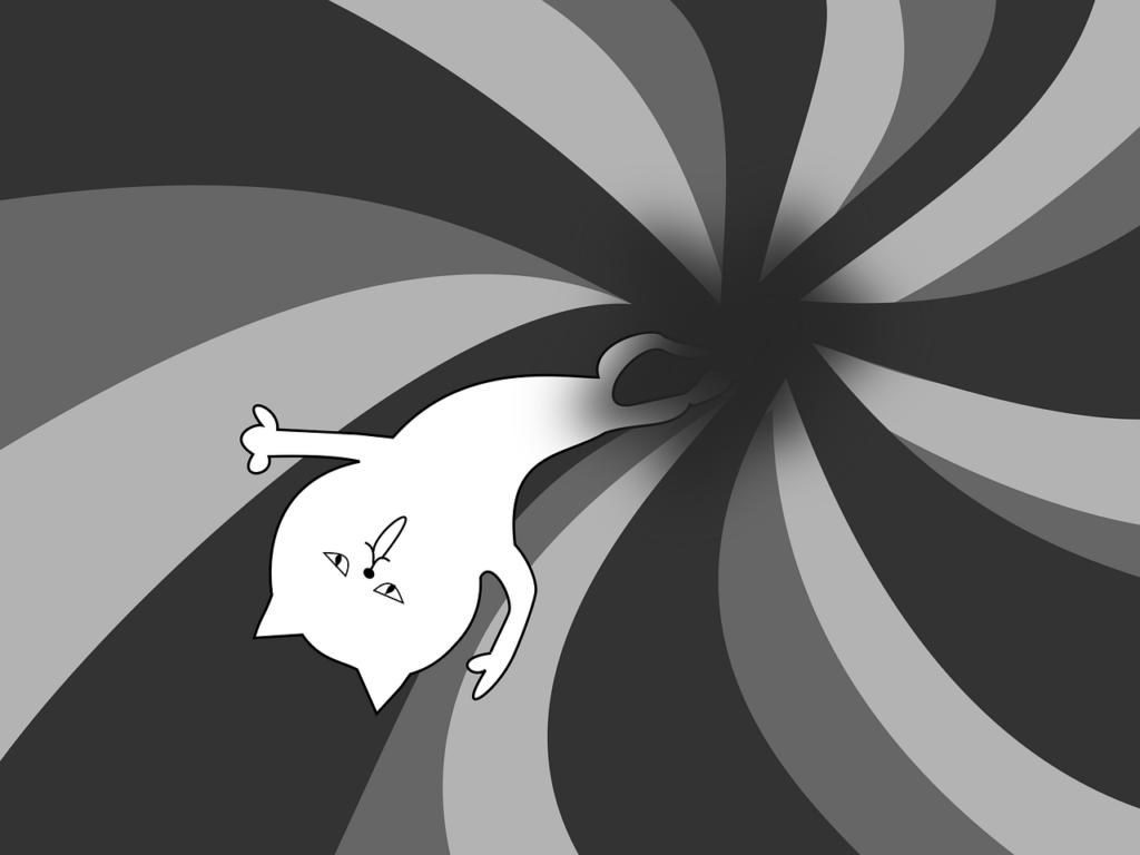 Zeichnung einer Katze, die in ein schwarzes Loch gesaugt wird