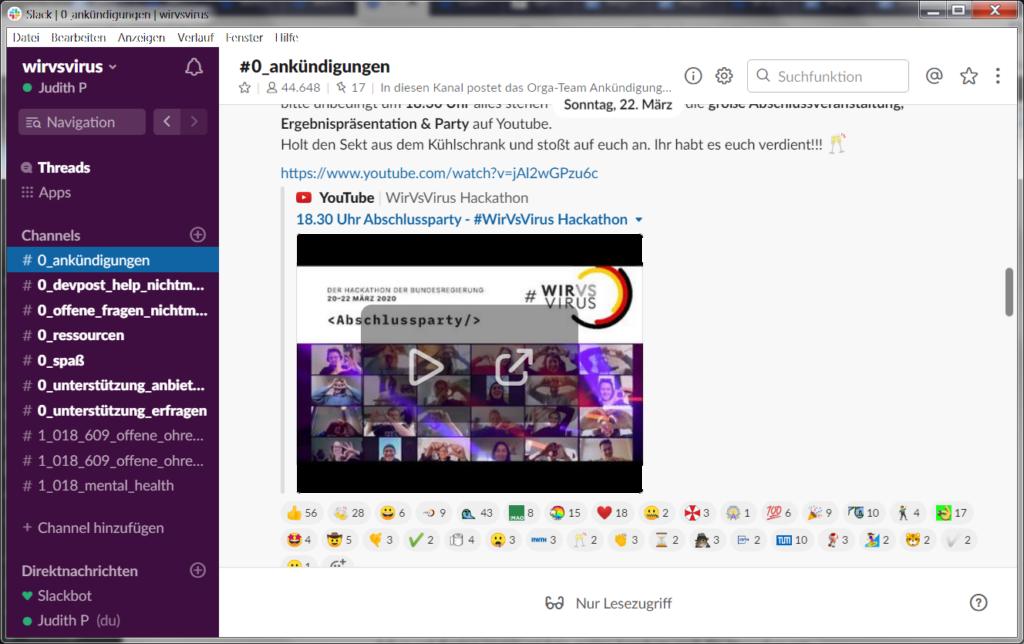 Screenshot vom Hackathon-Slack. >40000 Teilnehmer. Ankündigung des Abschlussevents mit YouTube-Link