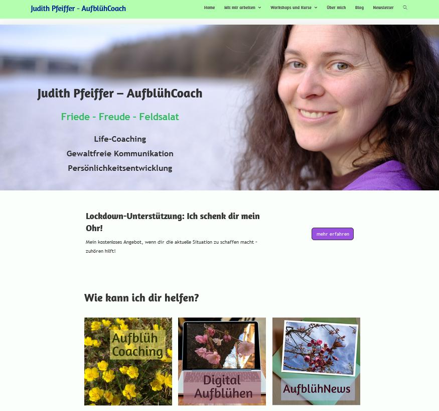 Screenshot Homepage Judith Pfeiffer. Großes Bild von mir. Drei kleinere Bilder zu Angeboten.