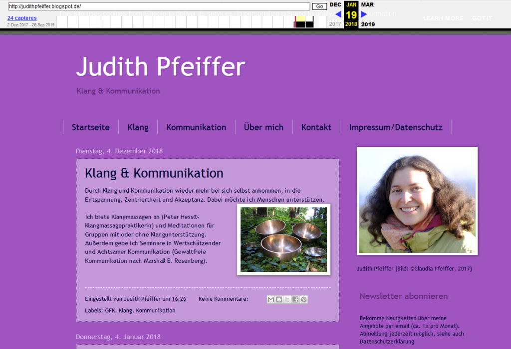 "Screenshot Homepage Judith Pfeiffer ""Klang & Kommunikation"""