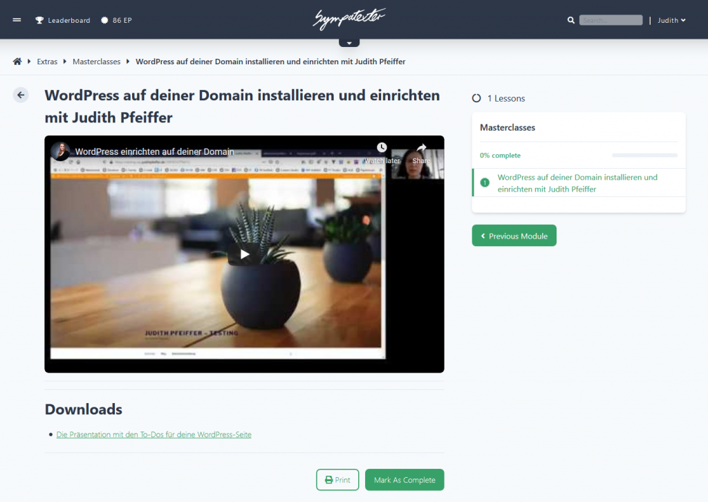 Screenshot aus der Sypmatexter Academy - WordPress Masterclass mit Judith Pfeiffer