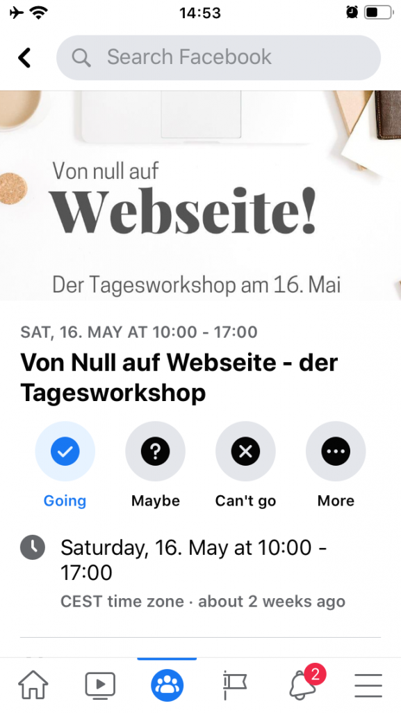 """Screenshot von Facebook-Veranstaltung """"Von Null auf Webseite"""""""